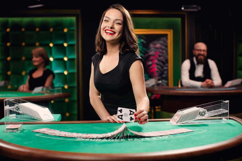 Brunette female blackjack dealer
