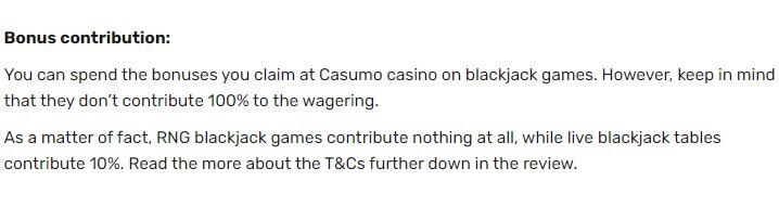 Screenshot of Casumos bonus contribution when playing Blackjack games.