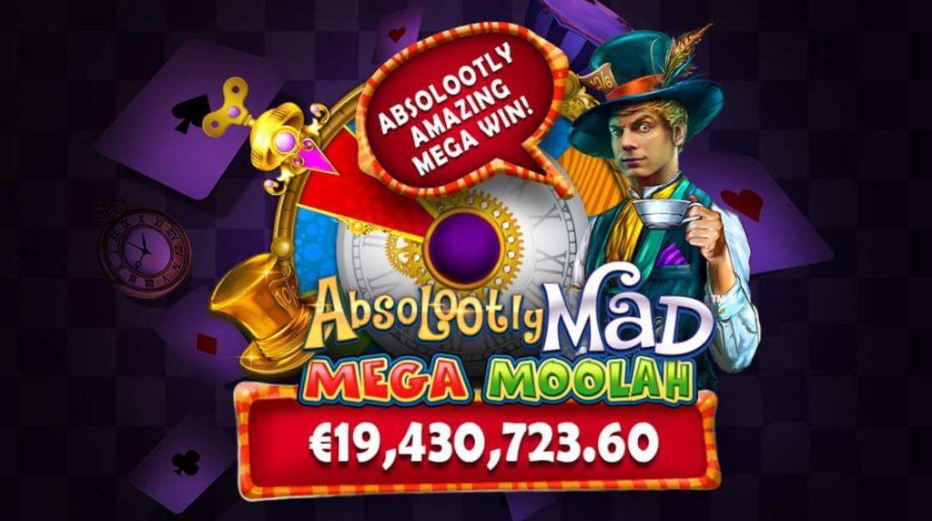 19 million euro jackpot win in Mega Moolah Absolootly Mad