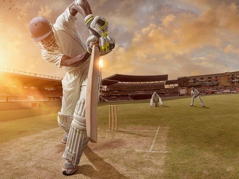 Cricket player with bat