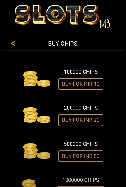 Overview of buying credits in Slots143