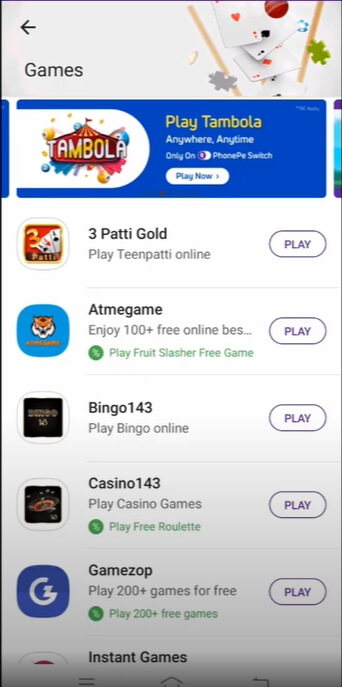 phonepe game selection