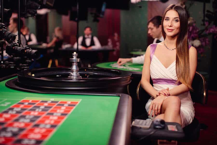 Beautiful roulette dealer