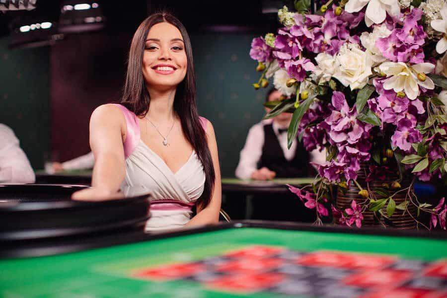 Smiling roulette dealer