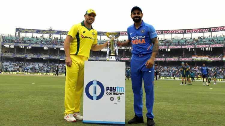 Cricket players at ODI trophy