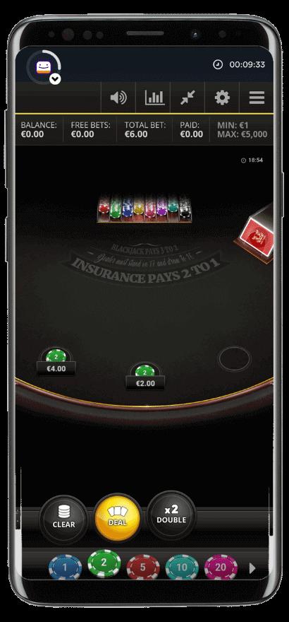 Inside Slingos blackjack mobile game